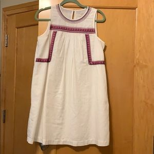 LOFT White Sleeveless Dress w/ Pink/Purple Design